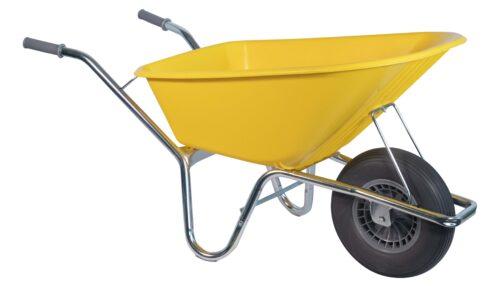 Bouwkruiwagen Basic HDPE 100 L geel softwiel