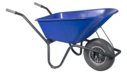 Tuin kruiwagen gecoat frame 100 L blauw softwiel