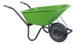 Tuin kruiwagen gecoat frame 100 L limegroen softwiel