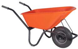 Tuin kruiwagen gecoat frame 100 L oranje softwiel