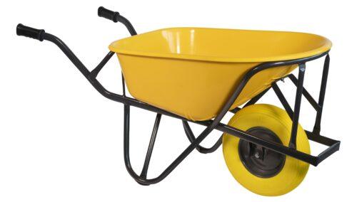 Kruiwagen HDPE 90 L stratenmakers geel softwiel