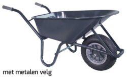 Kruiwagen HUMMER 85 L staal rondneus + metalen velg
