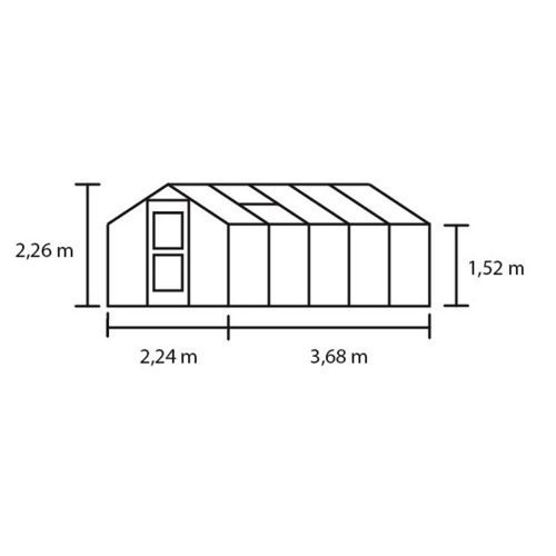 Tuinkas Compact 82, Veiligheidsglas, aluminium