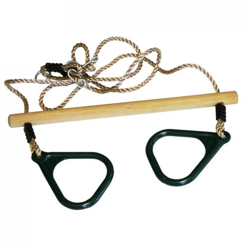 Houten trapeze met kunststof ringen groen