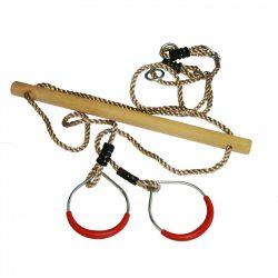 Houten trapeze met kunststof ringen rood